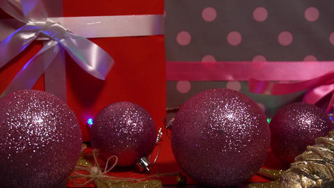 Chirstmas toy and holiday gift boxes with red decorations Live Action