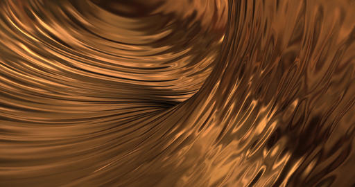 Gold liquid metallic background. Glamour satin texture 3D rendering loop 4k Animation