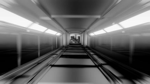 clean black and white tunnel corridor with glowing lights 3d illustration motion Animation