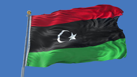 Libya animated flag pack in 3D and isolated background Animation