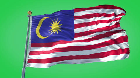 Malaysia animated flag pack in 3D and green screen Animation