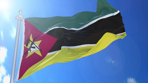 Mozambique animated flag pack in 3D and isolated background Animation