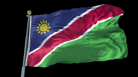 Namibia animated flag pack in 3D and isolated background Animation