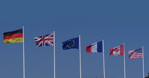 European Flags Waving in the Wind, Real Time 4K Live Action