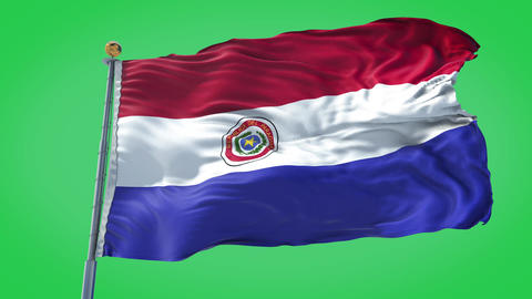 Paraguay animated flag pack in 3D and green screen Animation