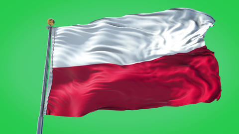 Poland animated flag pack in 3D and green screen Animation