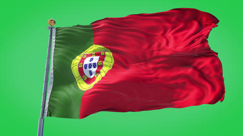 Portugal animated flag pack in 3D and green screen Animation