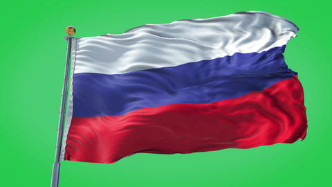 Russia animated flag pack in 3D and green screen Animation