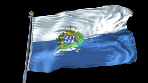 San Marino animated flag pack in 3D and isolated background Animation