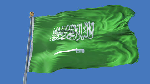 Saudi Arabia animated flag pack in 3D and isolated background Animation