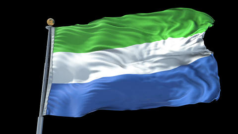 Sierra Leone animated flag pack in 3D and isolated background Animation