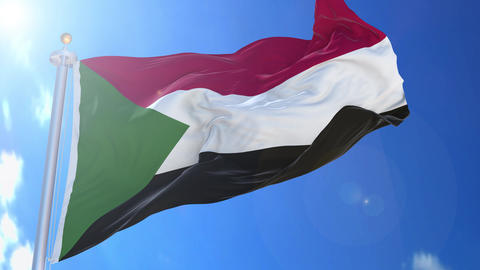Sudan animated flag pack in 3D and isolated background Animation