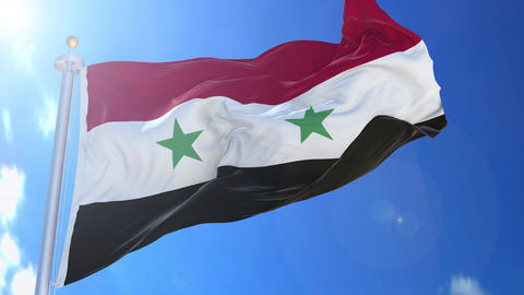 Syria animated flag pack in 3D and isolated background Animation