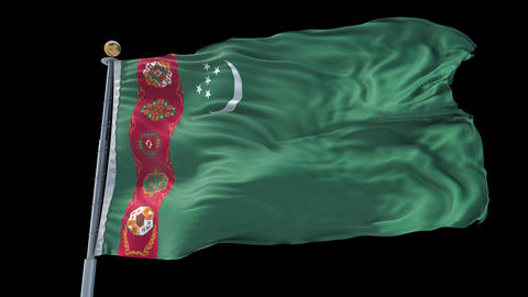 Turkmenistan animated flag pack in 3D and isolated background Animation