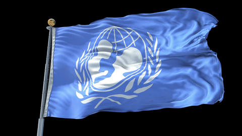 UNICEF animated flag pack in 3D and isolated background Animation