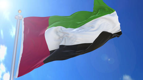 United Arab Emirates animated flag pack in 3D and isolated background Animation