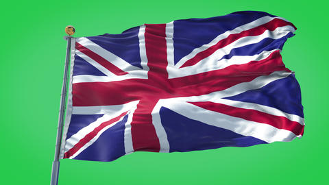 United Kingdom animated flag pack in 3D and green screen Animation