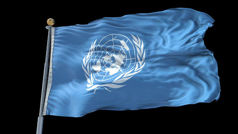 United Nations animated flag pack in 3D and isolated background Animation