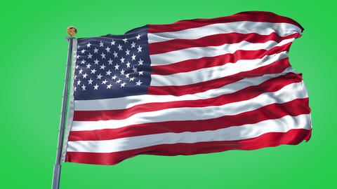 United States animated flag pack in 3D and green screen Animation