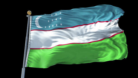Uzbekistan animated flag pack in 3D and isolated background Animation