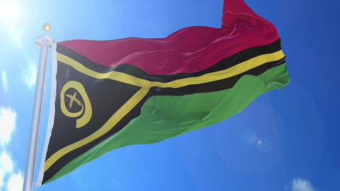 Vanuatu animated flag pack in 3D and isolated background Animation