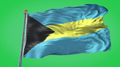 Bahamas animated flag pack in 3D and green screen Animation
