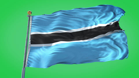 Botswana animated flag pack in 3D and green screen Animation