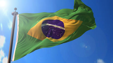 Brazil animated flag pack in 3D and isolated background Animation