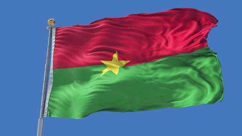 Burkina Faso animated flag pack in 3D and isolated background Animation