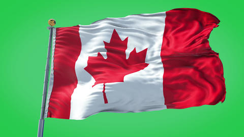 Canada animated flag pack in 3D and green screen Animation