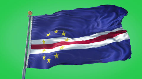 Cape Verde animated flag pack in 3D and green screen Animation