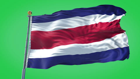 Costa Rica animated flag pack in 3D and green screen Animation