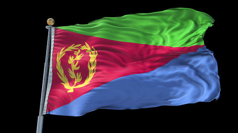 Eritrea animated flag pack in 3D and isolated background Animation