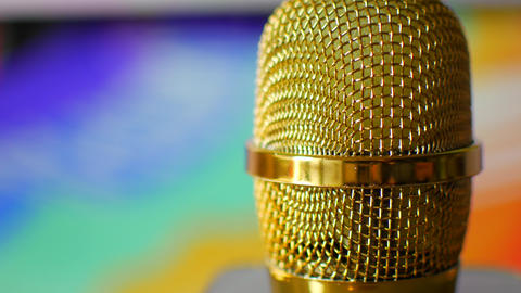 Golden microphone in a recording studio Live Action