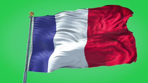 France animated flag pack in 3D and green screen Animation