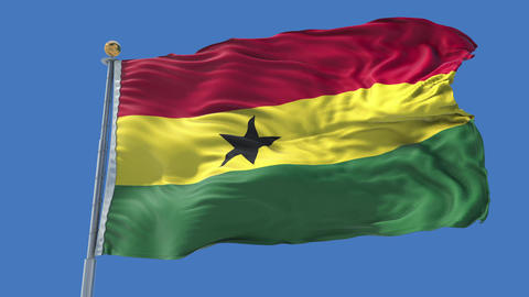Ghana animated flag pack in 3D and isolated background Animation