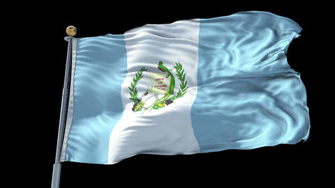 Guatemala animated flag pack in 3D and isolated background Animation