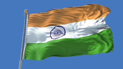 India animated flag pack in 3D and isolated background Animation