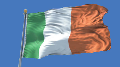 Ireland animated flag pack in 3D and isolated background Animation