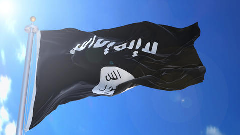 ISIS Islamic State animated flag pack in 3D and isolated background Animation