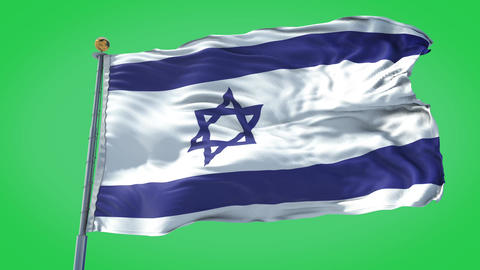 Israel animated flag pack in 3D and green screen Animation
