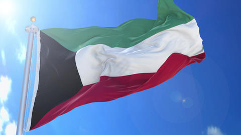 Kuwait animated flag pack in 3D and isolated background Animation