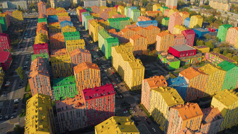 Colorful houses in Comfort Town district in Kyiv Live Action