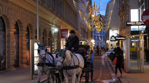 Christmas Horse Carriege decorations Shoppings Streets decorated with Footage