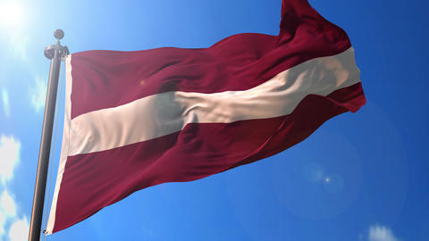 Latvia animated flag pack in 3D and green screen Animation