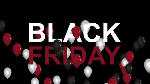 Black Friday advertisement with red, white and black balloons, background HD Animation
