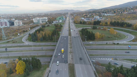 Aerial view of city traffic in Sofia, Bulgaria. Boyana ring road, bypass road Live Action