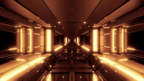 futuristic scifi space hangar tunnel corridor with glowing lights and Animation