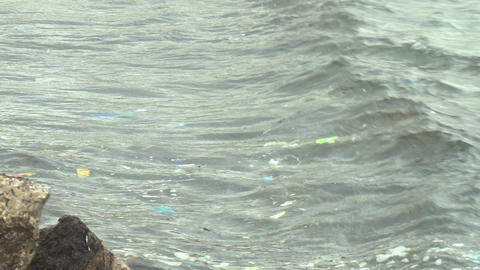 Garbage in the Mediterranean Sea. Ecological pollution. Discarded garbage Live Action