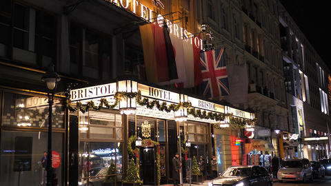 Christmas decorations of Hotel Bristol in old town Vienna, Austria, Europe Live Action